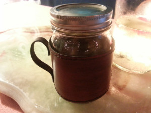 Rugged Leather and Glass Mason Jar Travel Mug