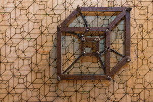 2D Tesseract Wall Art Sculpture, with Tesselated Tesseract Background