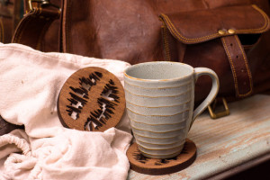 Set of 4 Stained Poplar Coffee Bean Coasters