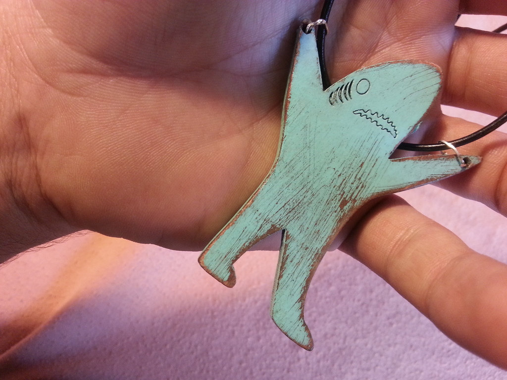 Vintage Sky Blue Left Facing Shark Pendant