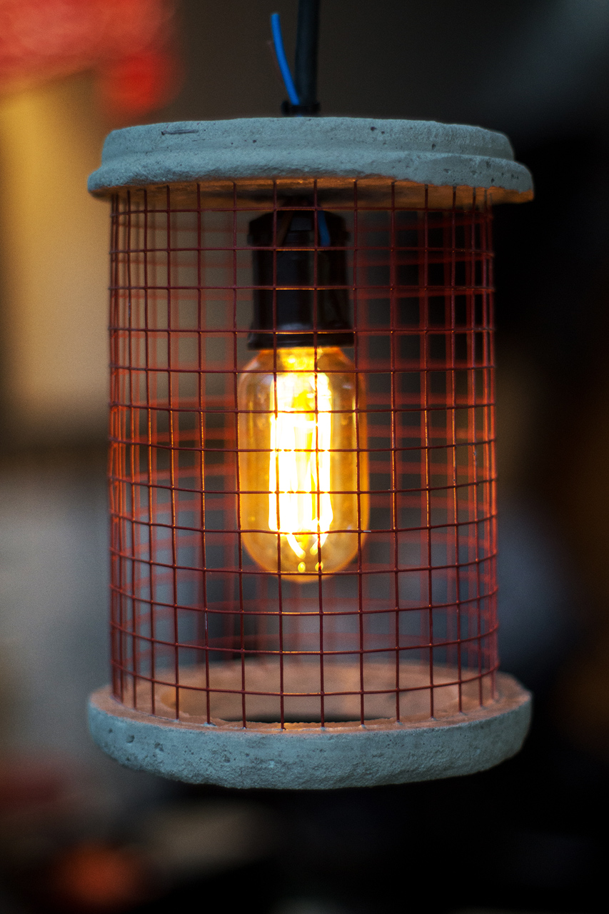 Concrete and Wire Industrial Pendant Light